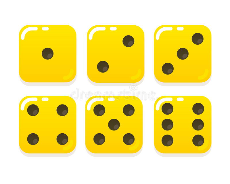 Cartoon yellow dice. In modern flat vector style. Six sides stock illustration