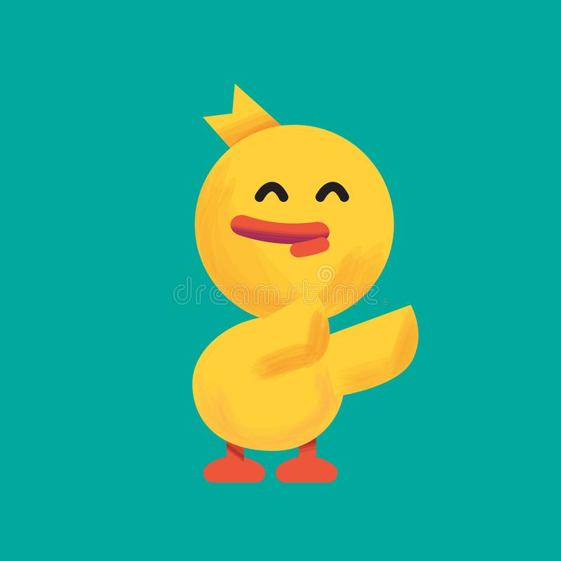 Cartoon yellow duck.Duckling feeling smile and happy royalty free illustration
