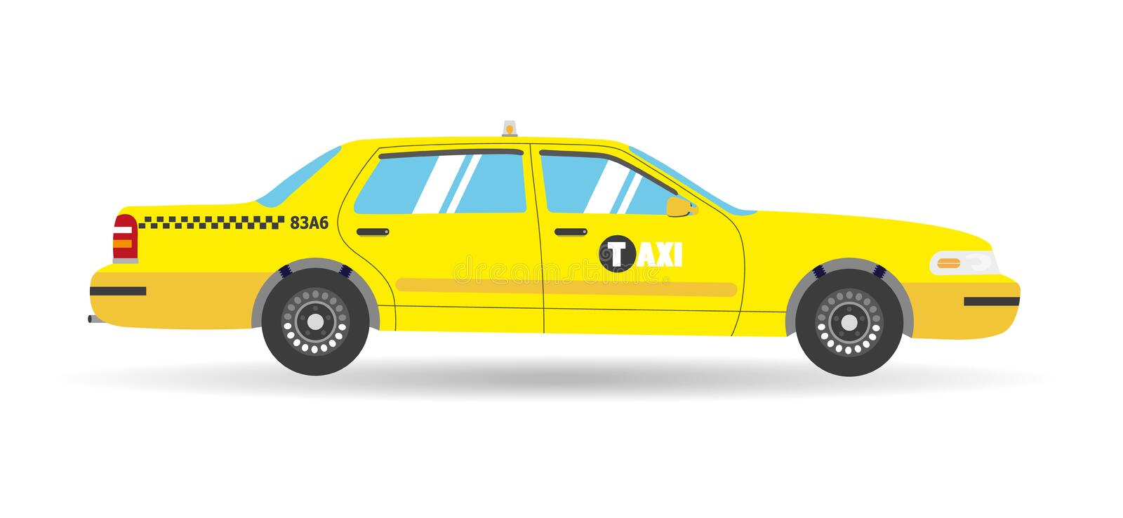 Cartoon yellow flat taxi icon. objects business cab car. On white background royalty free illustration