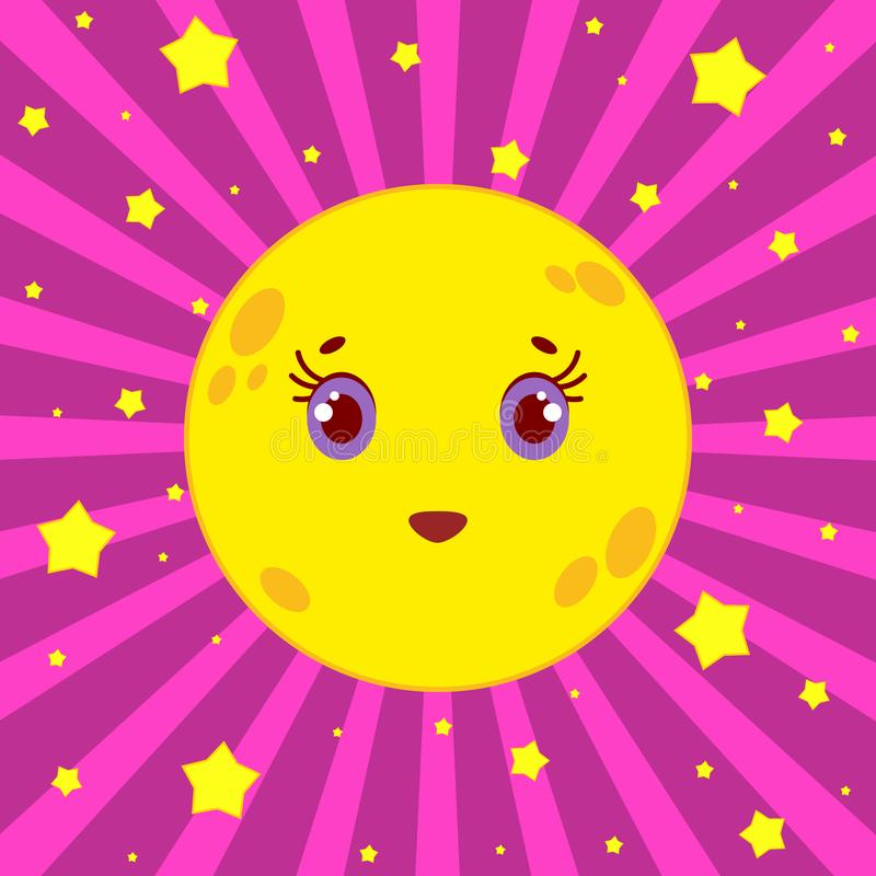 Cartoon yellow moon smiling on a pink striped background with stars stock illustration