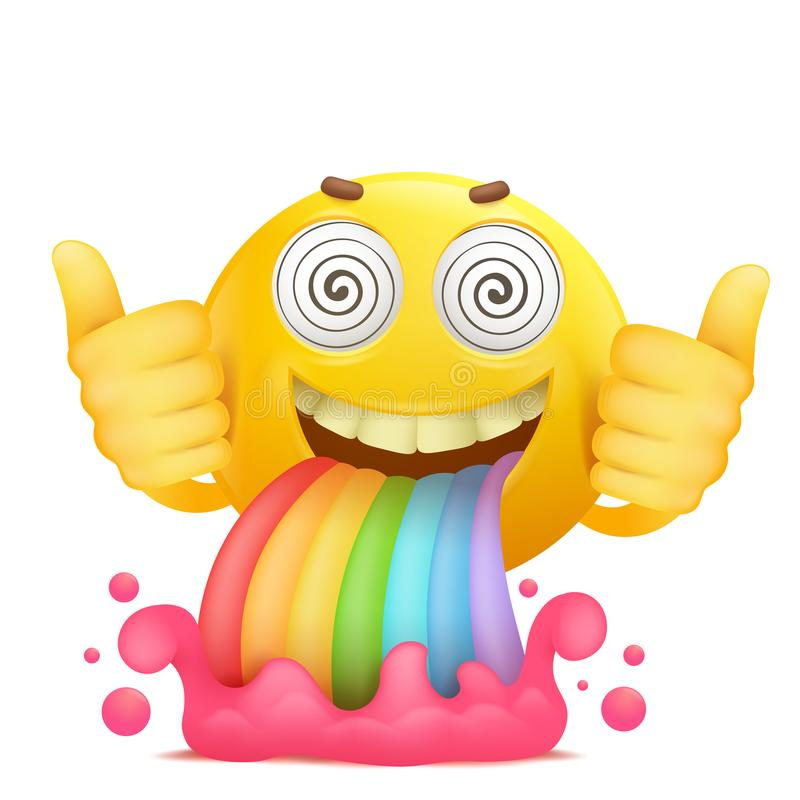 Cartoon yellow smiley face emoji character with rainbow vomiting royalty free illustration