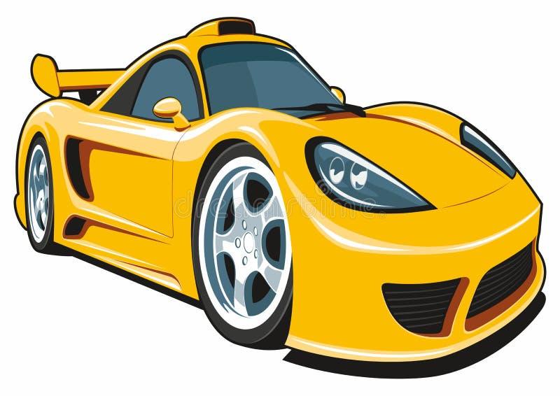 Cartoon yellow sport car royalty free stock photography