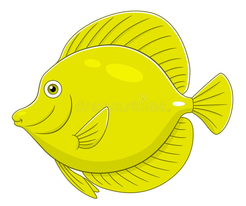 Cartoon yellow tang. Cartoon cute yellow tang fish isolated on white background stock illustration