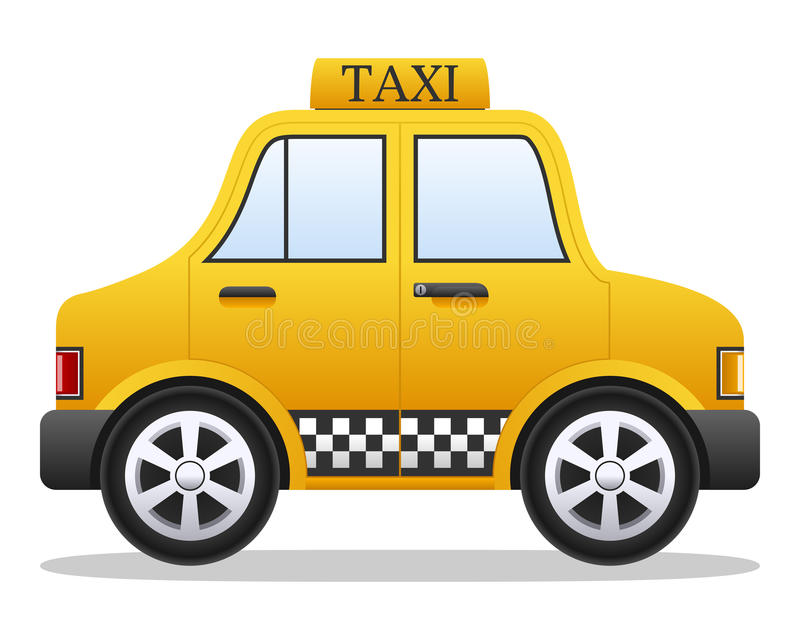 Cartoon Yellow Taxi Car. Cartoon yellow taxi cab car, isolated on white background. Eps file available stock illustration