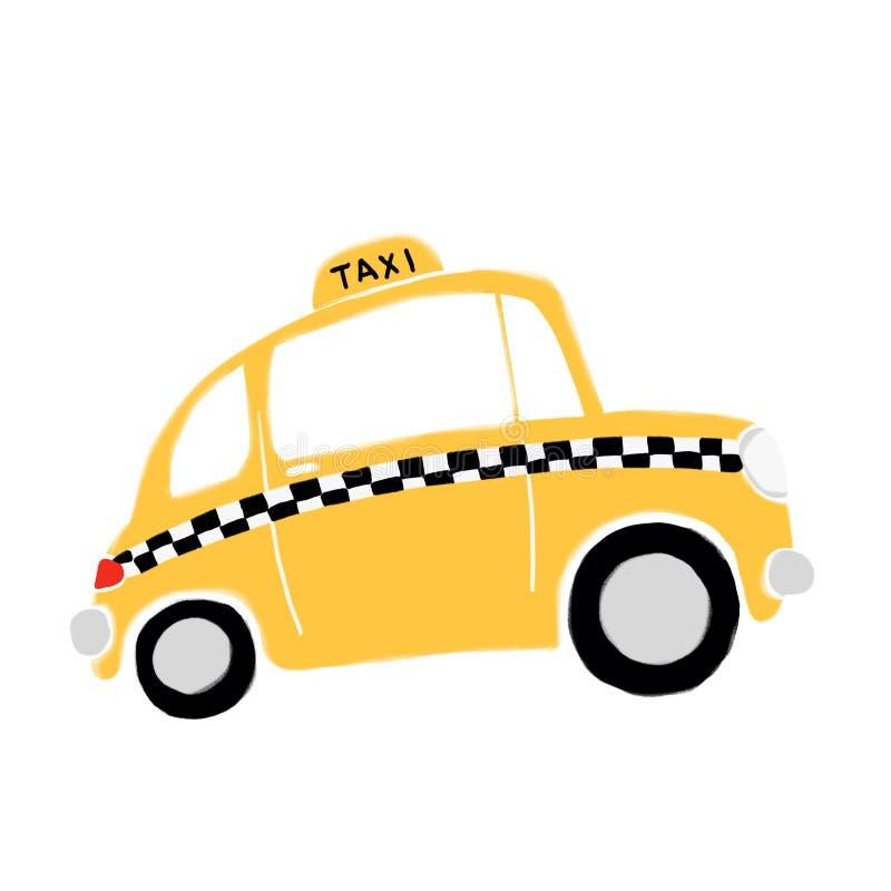 Cartoon yellow taxi. Digital illustration. Cartoon yellow taxi in profile vector illustration