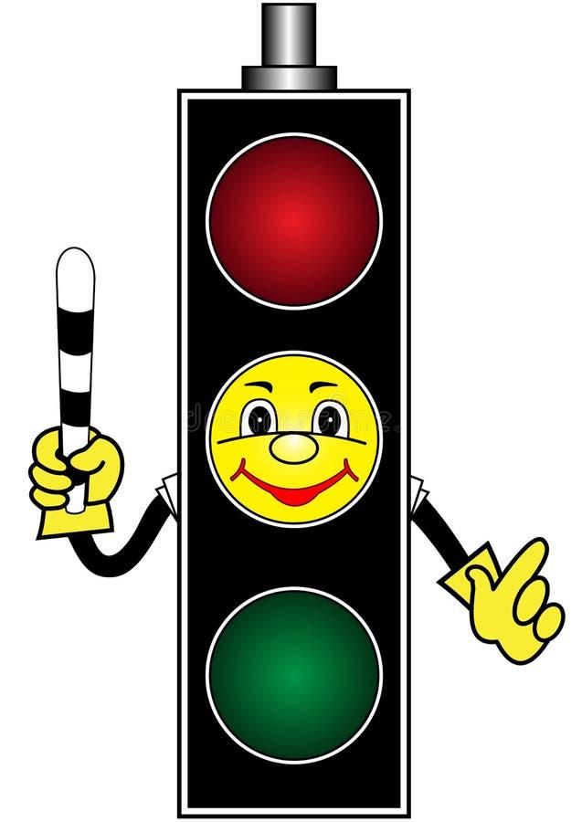 Cartoon yellow traffic light stock illustration