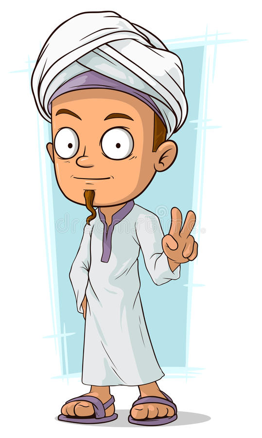 Cartoon young Arabian boy. A vector illustration of cartoon young Arabian boy royalty free illustration