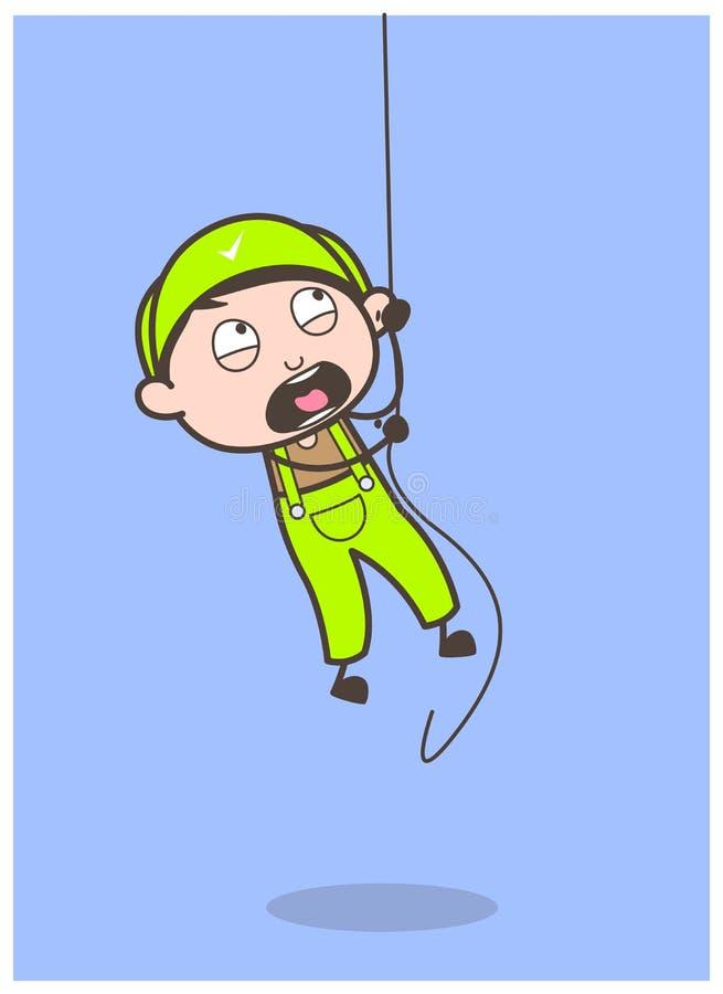 Cartoon Young Boy Climbing Rope in Tranning Vector Illustration. Cartoon Young Boy Climbing Rope in Tranning Vector design stock illustration
