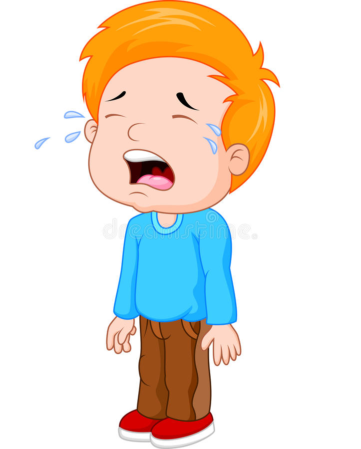 Cartoon a young boy crying. Illustration of Cartoon a young boy crying royalty free illustration