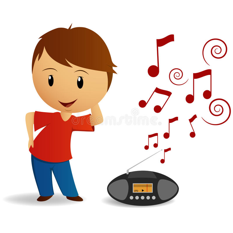 Cartoon Young Boy Dance With Radio Recorder Vector Illustration