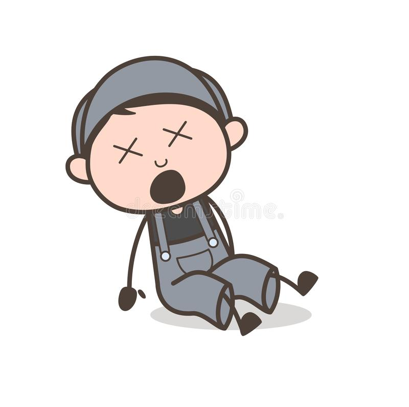 Cartoon Young Boy Fell Down and Hurt Vector Concept. Cartoon Young Boy Fell Down and Hurt Vector design vector illustration