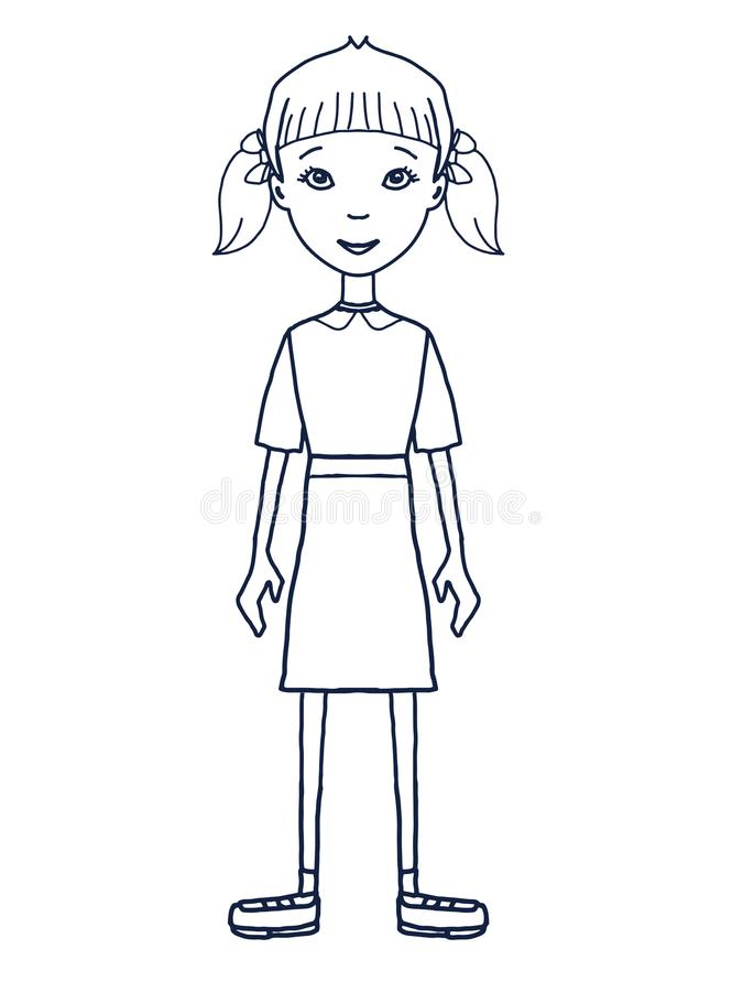 Cartoon young boy girl child standing illustration illustration cartoon illustration. Cartoon young boy girl child standing illustration white background stock illustration