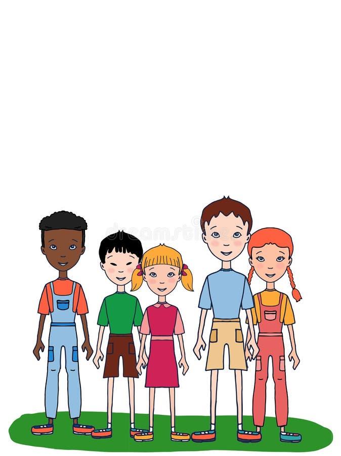 Cartoon young boy girl children standing illustration illustration cartoon illustration. Cartoon young boy girl children standing illustration white background vector illustration