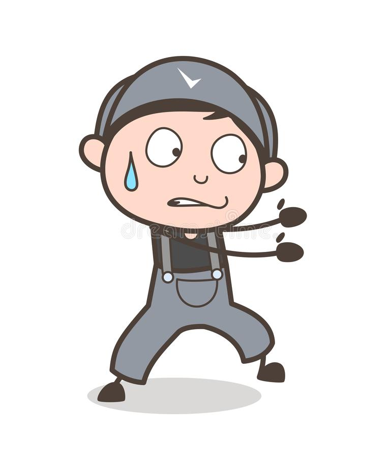 Cartoon Young Boy Pulling Expression Vector Illustration. Cartoon Young Boy Pulling Expression Vector design royalty free illustration