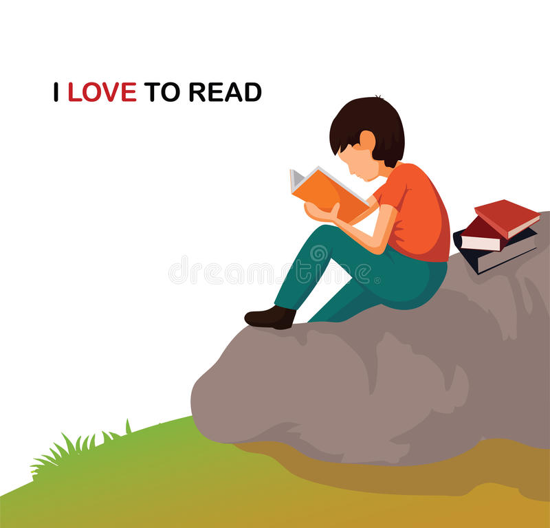 Cartoon young boy reading a book. I love reading Illustration. Cartoon young boy reading a book royalty free illustration