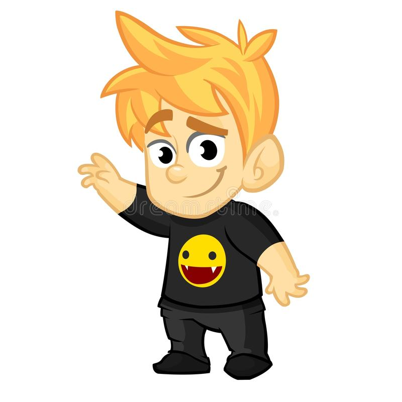 Cartoon young boy rock-n-roll fan. Vector illustration of cute blond teenager in black clothes. Icon. Cartoon young boy rock-n-roll fan. Vector illustration of vector illustration