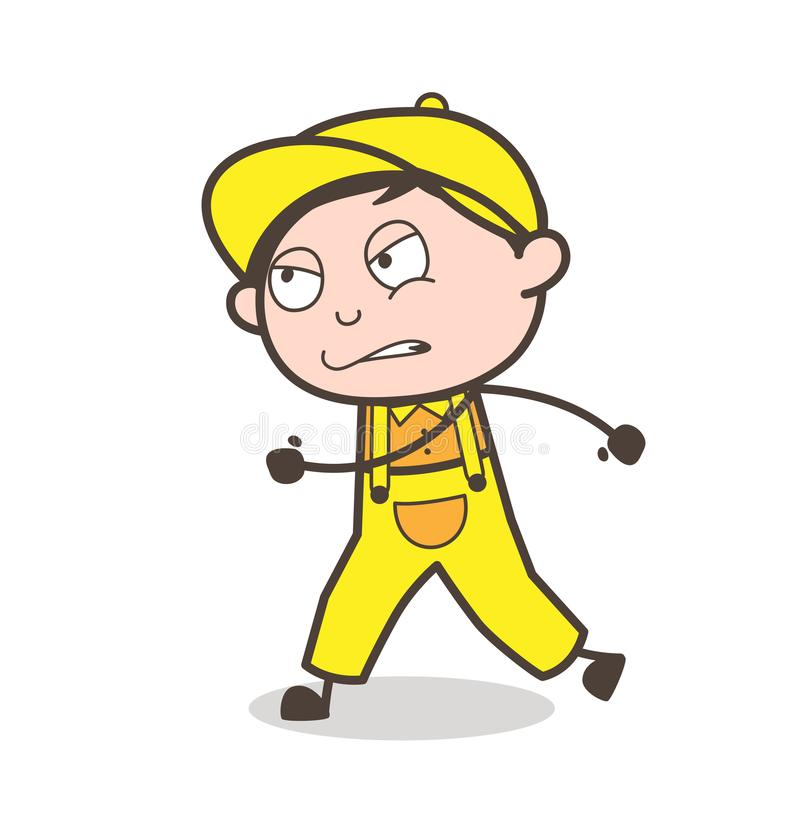 Cartoon Young Boy Running in Aggression Vector Illustration. Cartoon Young Boy Running in Aggression Vector design vector illustration