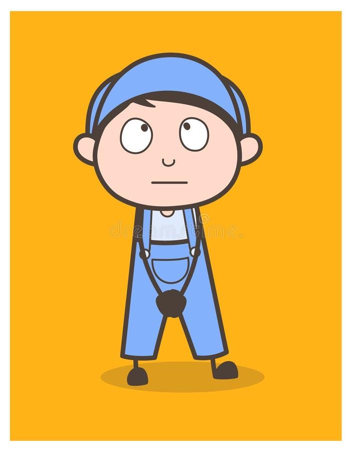 Cartoon Young Boy Thinking Face Vector Illustration. Cartoon Young Boy Thinking Face Vector design stock illustration