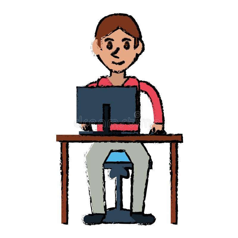 Cartoon young boy uses computer desk chair design. Vector illustration eps 10 stock illustration