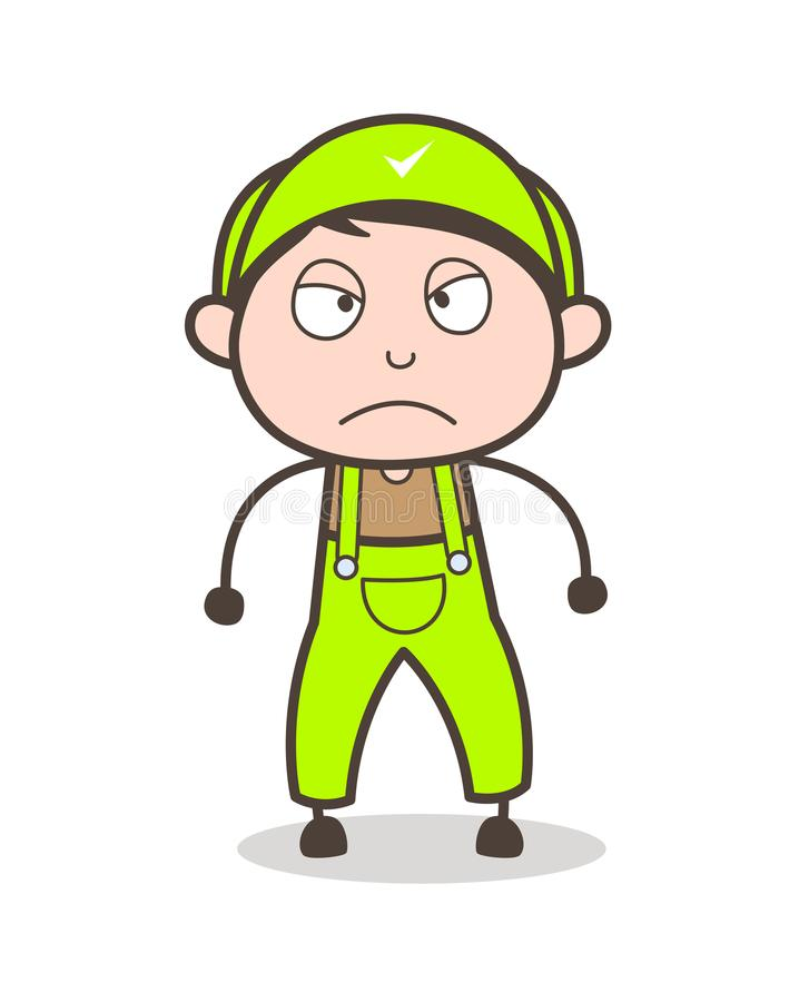 Cartoon Young Boy Worker Aggressive Expression Vector Illustration. Cartoon Young Boy Worker Aggressive Expression Vector design stock illustration