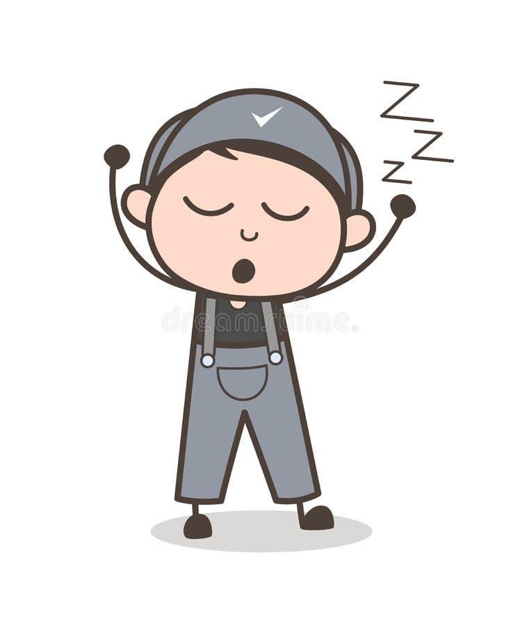 Cartoon Young Boy Yawning Face Vector Illustration. Cartoon Young Boy Yawning Face Vector design vector illustration