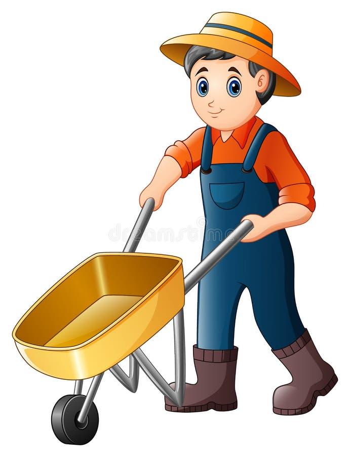 Cartoon young farmer pushing a wheelbarrow royalty free illustration