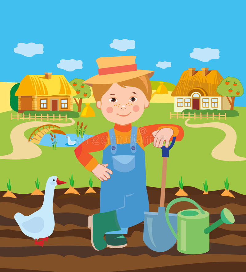 Cartoon Young Farmer Working In The Farm. Village Landscape. Vector Illustration. royalty free illustration