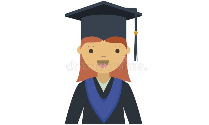 Cartoon of young female graduate character royalty free illustration