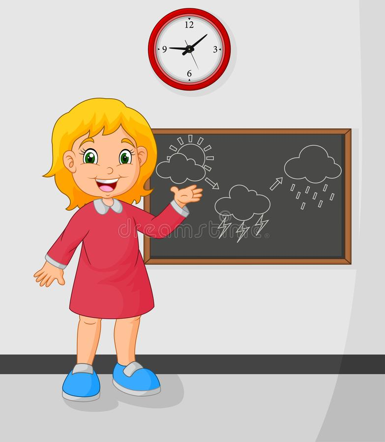 Cartoon young girl standing front blackboard vector illustration