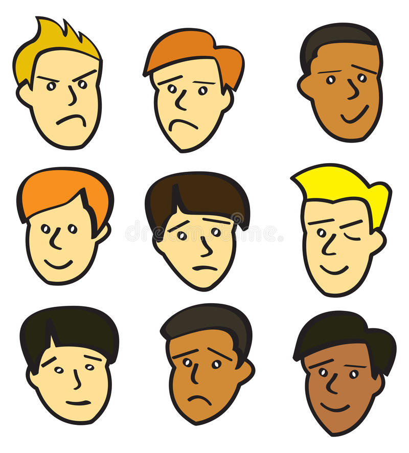 Download Cartoon Young Male Faces stock vector. Image of complexion - 27523403