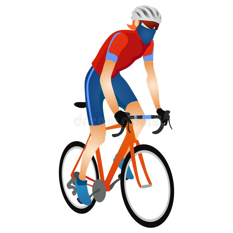 Cartoon young man in helmet riding touring bike. Guy in sportswear using cyclocross and adventure road bicycle vector illustration. Isolated on white stock illustration