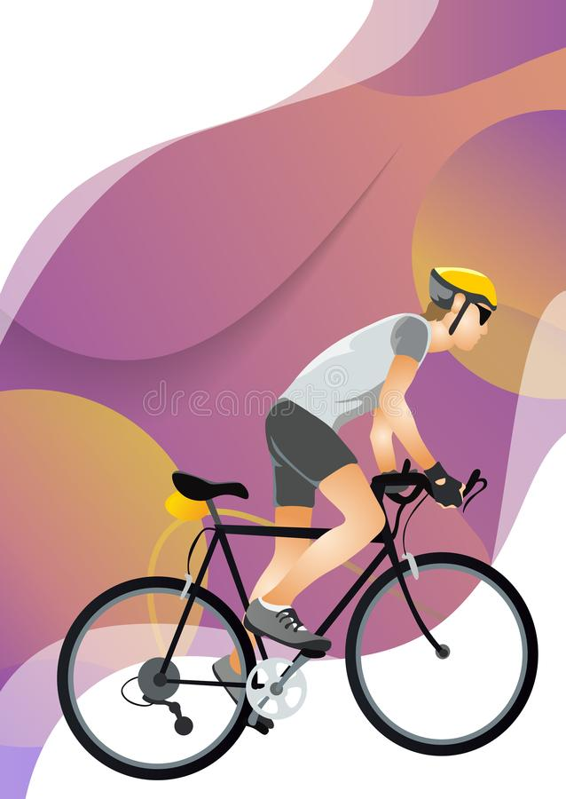 Cartoon young man in helmet riding touring bike. Guy in sportswear using cyclocross and adventure road bicycle vector illustration. Isolated on white royalty free illustration