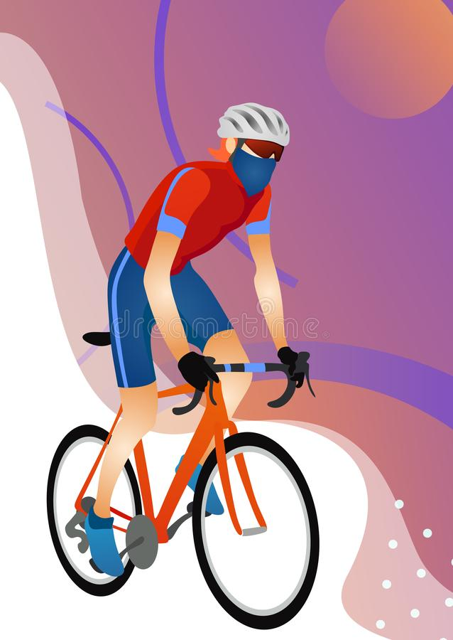 Cartoon young man in helmet riding touring bike. Guy in sportswear using cyclocross and adventure road bicycle vector illustration. Isolated on white vector illustration
