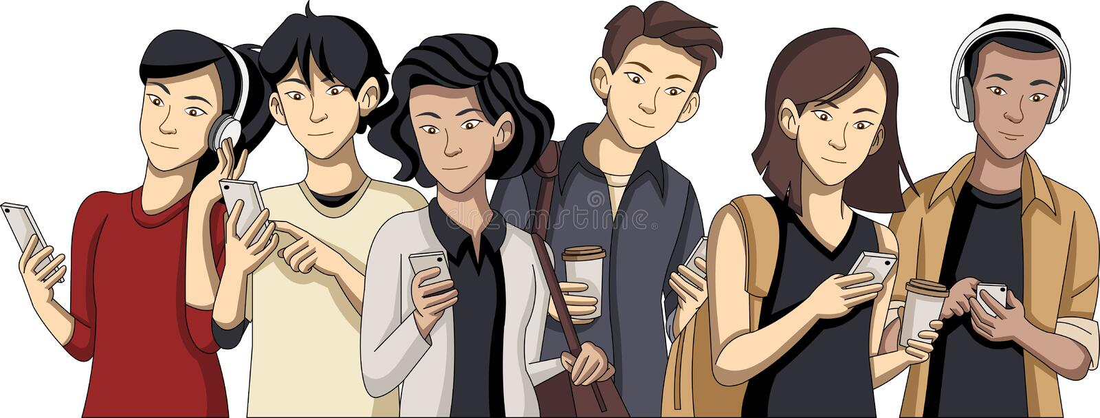 Cartoon young people with smart phones royalty free illustration