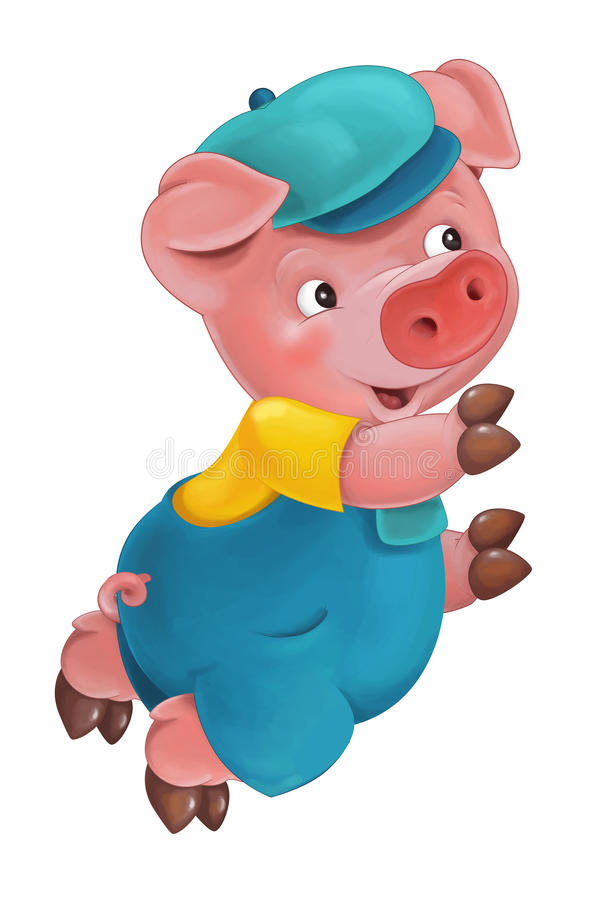 Cartoon young pig in work outfit - isolated royalty free illustration