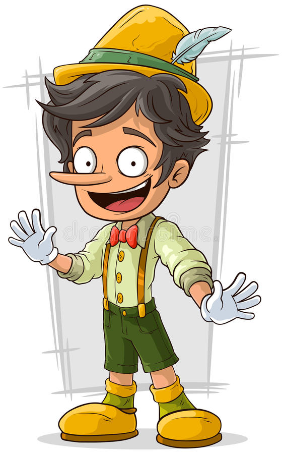 Cartoon young Pinocchio with big boots and hat royalty free illustration