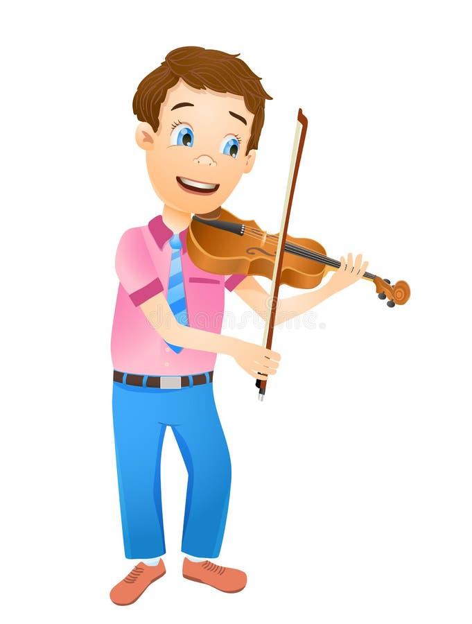 Cartoon young smiling boy playing violin. vector. Illustration royalty free illustration