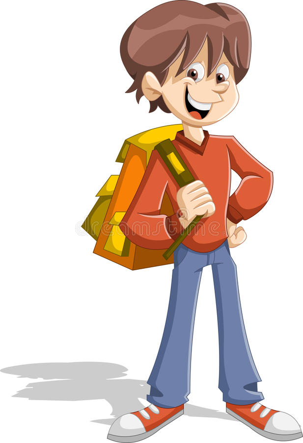 Cartoon young student boy with backpack. Teenager stock illustration