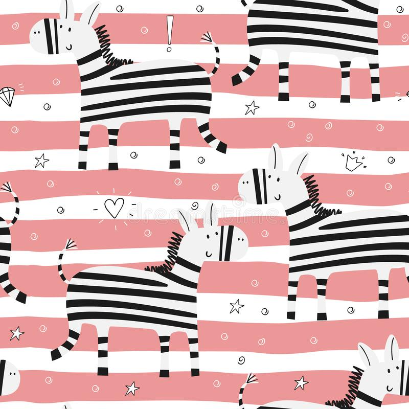 Cartoon zebra Seamless pattern royalty free illustration