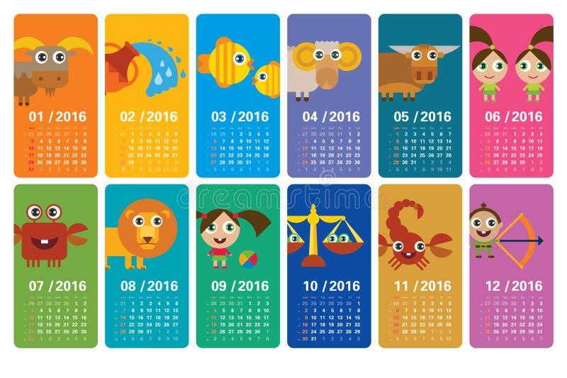 Weekly Calendar Cartoon : Cartoon zodiac calendar stock illustration