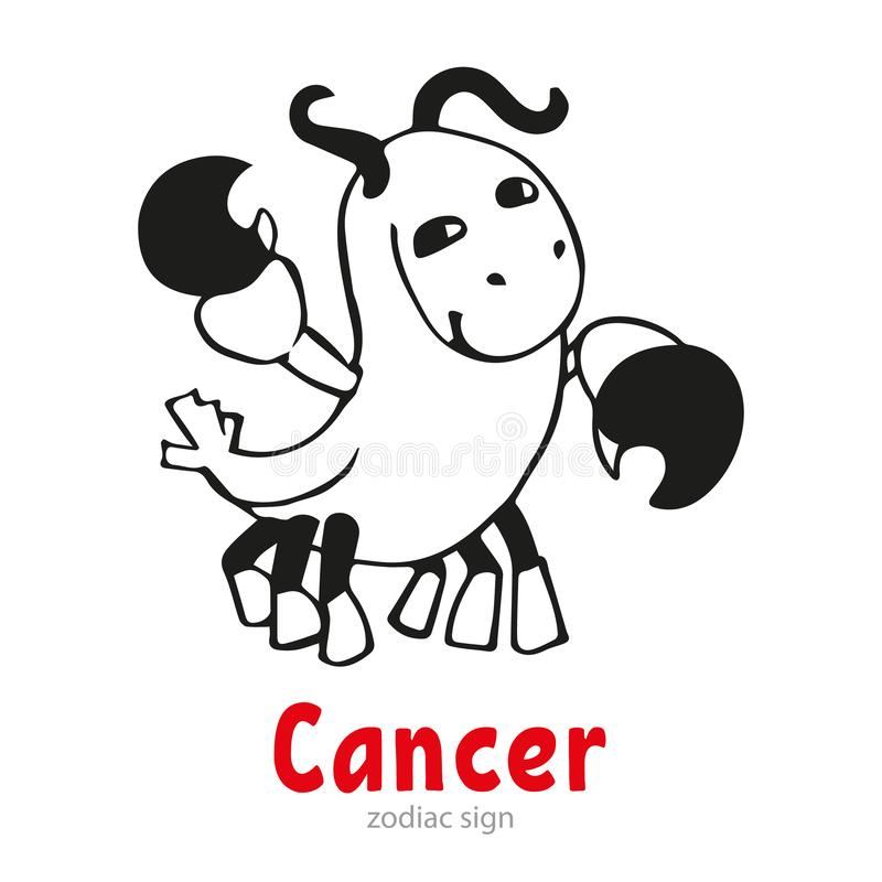 Cartoon zodiac sign Cancer. Vector i. Llustration royalty free illustration