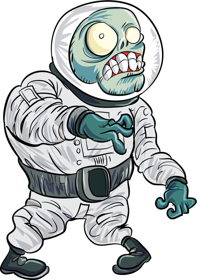 Cartoon zombie astronaut. Isolated on white royalty free illustration