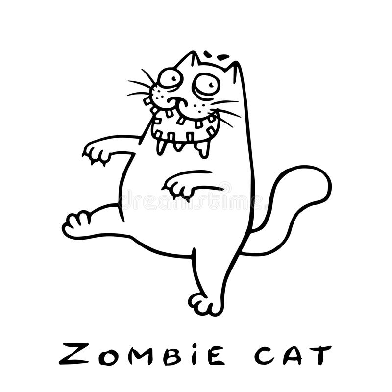Cartoon zombie cat comes. Vector illustration. Cartoon zombie cat comes with an open mouth. Genre of horror. Vector illustration royalty free illustration