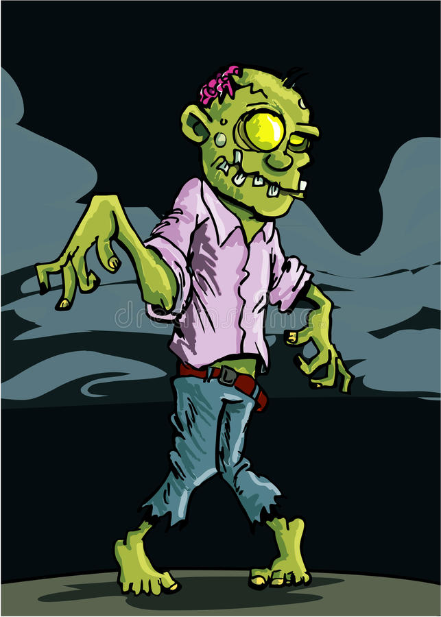 Download Cartoon Zombie With Cloudy Night Sky Stock Vector - Image: 20228936