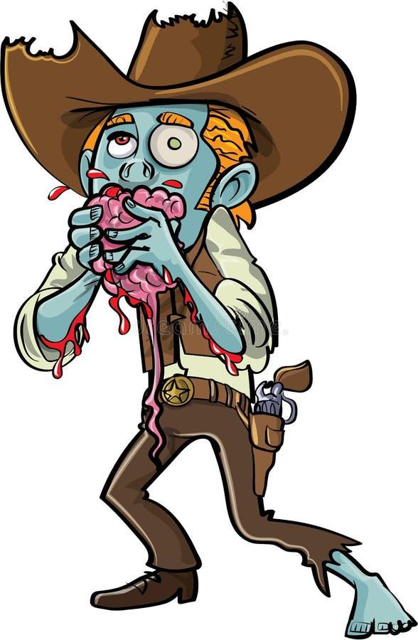 Cartoon zombie cowboy eating a brain. Isolated stock illustration