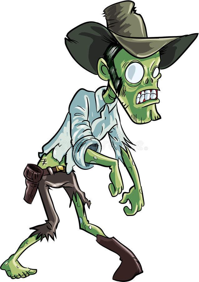 Cartoon zombie cowboy. Isolated on white royalty free illustration