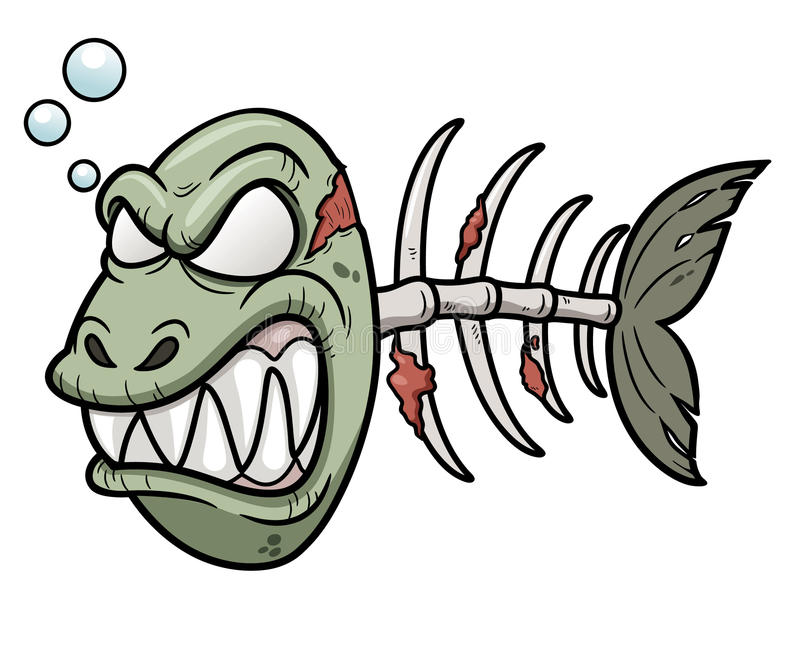 Cartoon zombie fish. Vector illustration of Cartoon zombie fish stock illustration