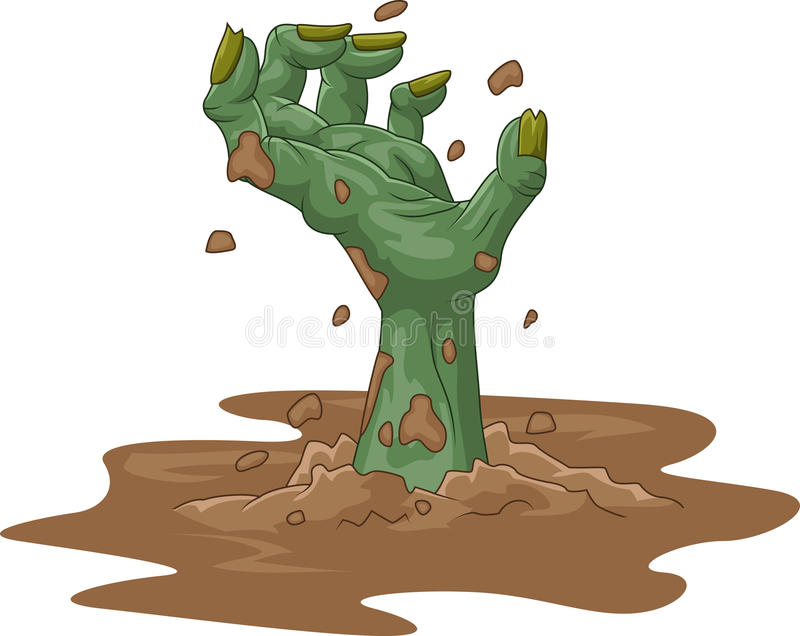 Cartoon zombie hand out of the ground on background vector illustration