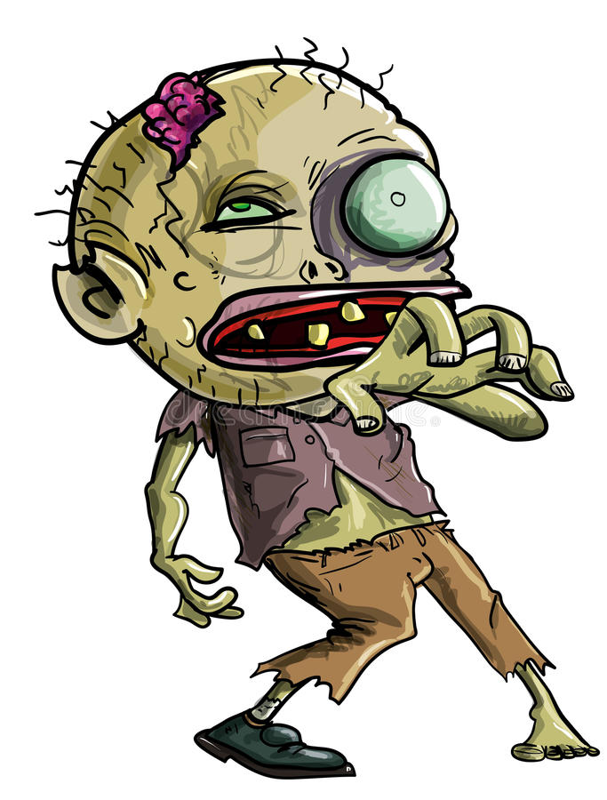 Cartoon Zombie Making A Grabbing Movement Stock Image