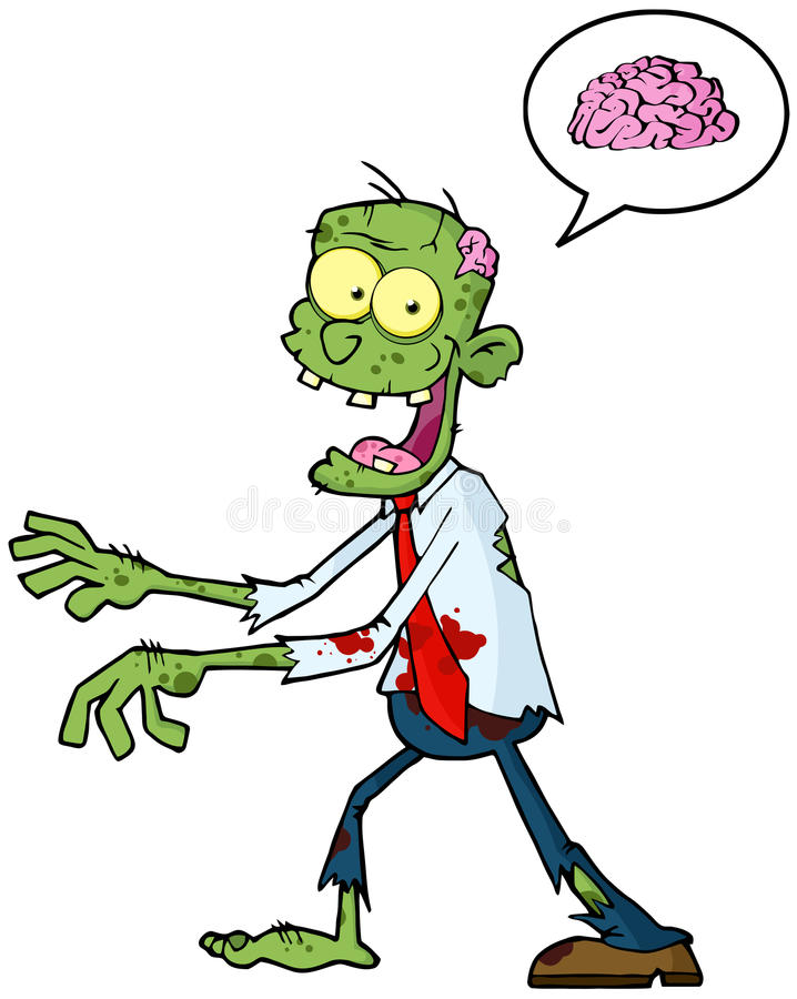 Cartoon Zombie And Speech Bubble stock illustration